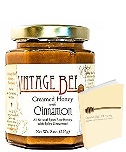 Vintage Bee Cinnamon Creamed Honey Sweet Spreads | All Natural Spun Raw Honey with Free Honey Recipe Ebook (Cinnamon, 8oz)