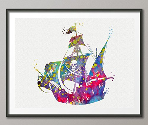 Pirate Ship Watercolor Posters Art Prints Wall Decor Artworks Wall Dining Room Wall Hanging