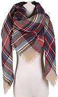 Large Plaid Blanket Scarf Square Tassel Long Scarf Wrap Shawl for Women