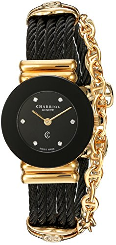 Charriol Women's 'St Tropez' Swiss Quartz Gold-Tone and Stainless Steel Dress Watch, Color Black (Model: 028BNGP.545.RO005)