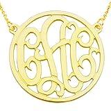 "14YMono125R 14K Yellow Gold (1.25"") 3-Initial Circle Monogram Necklace"