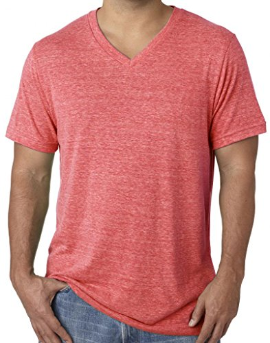 Mens Tri Blend V-Neck Tee Shirt, XL Red Triblend