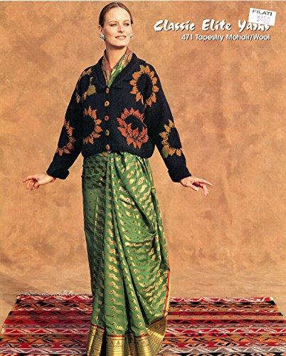 Elite Classic Cardigan (Classic Elite Yarns Knitting Pattern #471 Bombay, India Sunflower Cardigan Women - Advanced Level Knitting)