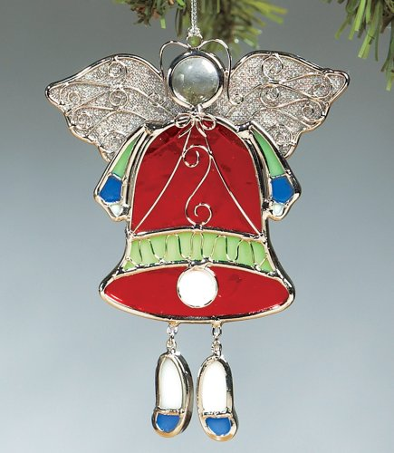 Angel Ornament Christmas Tree Decoration - Red Stained Glass Bell Silver Filigree Metal Wire Mesh Wings - 5 Inch Stained Glass Christmas Tree