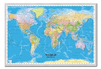 Amazon world political map poster cork pin memo board silver world political map poster cork pin memo board silver framed 965 x 66 cms gumiabroncs Image collections