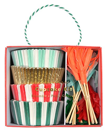 Meri Meri Red and Green Stripes Cupcake Kit 45-2959, Set Includes 48 Liners and 24 -