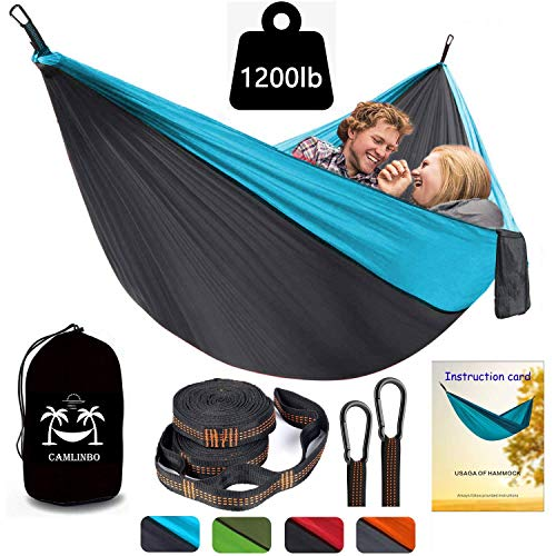 Camlinbo Camping Hammock Double Single with Trees Straps 118×78 inch Hold up 1200 lbs Lightweight Hammock for 2-3 Kids Indoor Outdoor Hiking Travel Portable Backpack 1 User Manual 2 Steel Carabiners