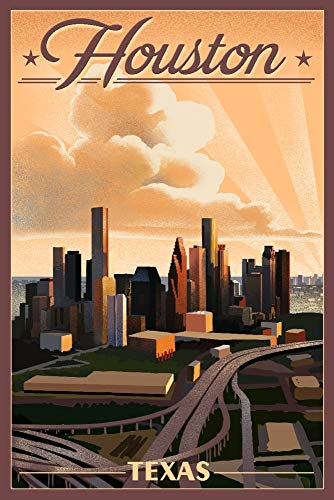 Houston Lithograph Framed (Houston, Texas - Lithograph (16x24 Signed Print Master Giclee Print w/Certificate of Authenticity - Wall Decor Travel Poster))