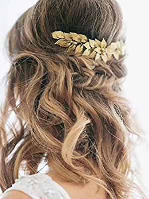 Yean Wedding Hair Comb Gold Leaf Hair Comb Bridal Leaves Hair Clips Hair Accessories for Bride and Bridesmaids