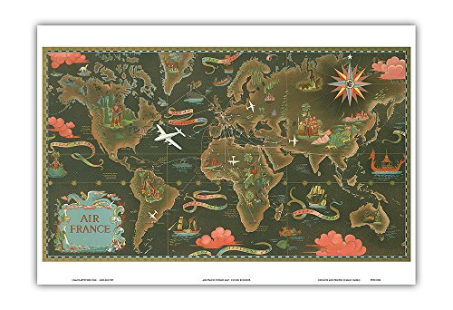 France Map - Fly Routes World Map Planisphere - Vintage Airline Travel Poster by Lucien Boucher c.1948 - Master Art Print - 13in x 19in (De Map France Tour)