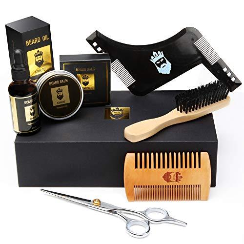 Beard Grooming Kit,6-in-1,Unscented Beard Oil and Beard Balm,Beard Brush,Barber Scissors for Styling,Beard Comb,Beard Shaping Tool,Mustache Trimming Set for Men Care