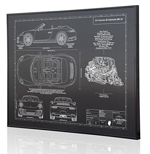 Porsche 991.2 911 Carrera 4S Cabriolet Blueprint Artwork-Laser Marked & Personalized-The Perfect Porsche - Carrera Cabriolet Porsche 4s
