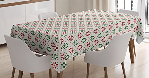 Ambesonne Christmas Decorations Tablecloth, Traditional Norwegian Selbu Rose Motifs Diagonal Nordic Classic, Dining Room Kitchen Rectangular Table Cover, 60 W X 84 L Inches, White Green