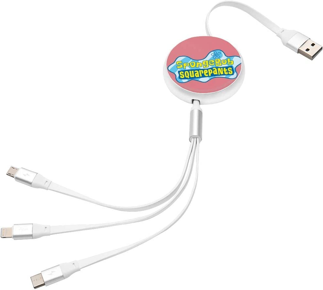 Aluminum Alloy Shell N//C Spongebob Anime Round Three-in-One Charging Cable TPE Cable Pc Surface