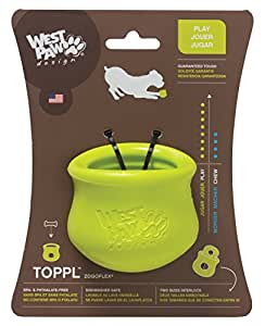 West Paw Design Zogoflex Toppl Interactive Treat Dispensing Dog Toy, Small, Granny Smith