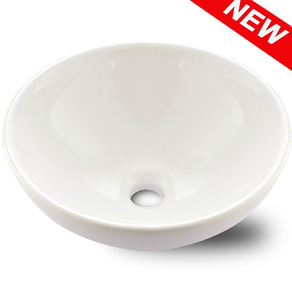 VAPSINT Above Counter Round Bowl Porcelain Ceramic Bathroom Art Basin Vessel Sink, White Bathroom Sinks by VAPSINT
