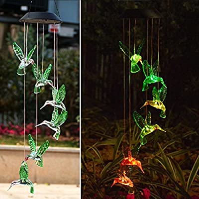 Chasgo Solar Wind Chime Color Changing Outdoor Solar Light Decorative Hanging Garden Light