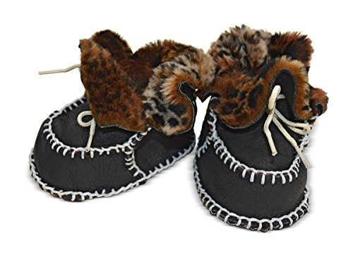 Toscana SHEARLING Supersoft oveja bebé patucos marrón glitter brown suede & white shearling Talla:Size 3-12 months animal print & black suede