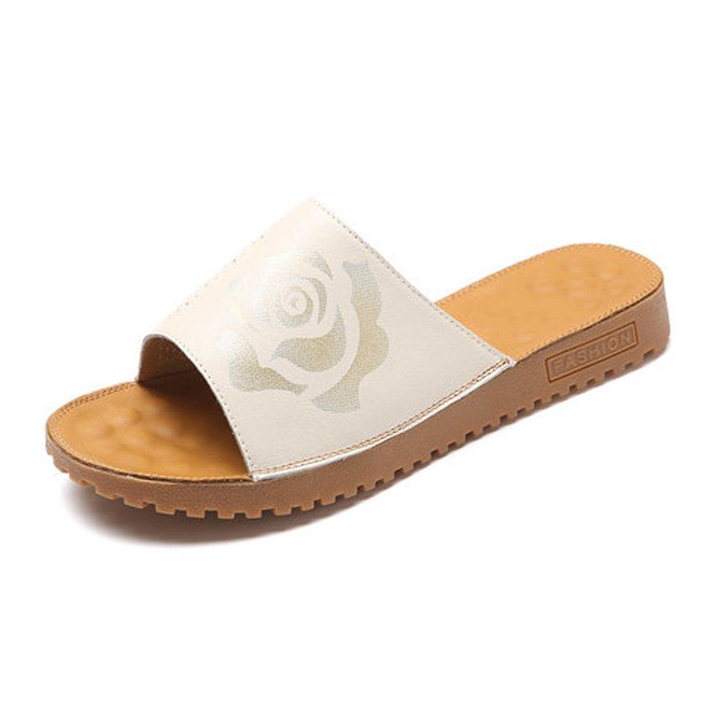 YUBIN Zapatilla Mujer Desgaste Fuera De Impresión De Cuero Genuino Antideslizante Zapatos De Mujer Cómodas Sandalias Transpirables Cool Sand Drag (Color : C, Tamaño : 37) 37 C