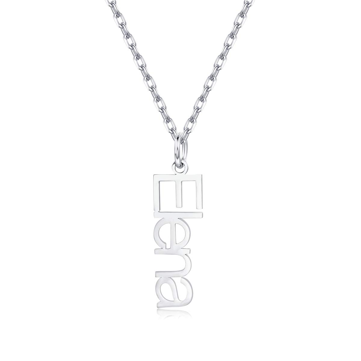 EverThanMore Vertical Name Necklace Personalized Custom Name Necklace for Her