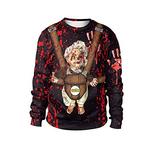 kaifongfu Women's Halloween Sweatshirt Pumpkin Print Pullover Top Blouse (Wine,M)
