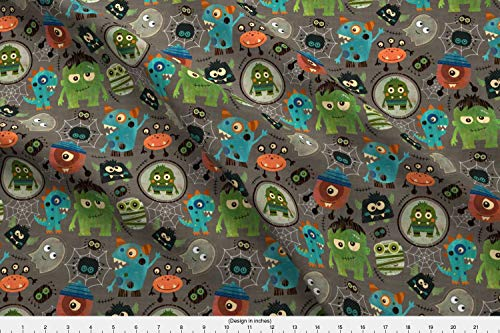 Spoonflower Vintage Halloween Fabric - Vintage Halloween Sarah Treu Cute Monsters Frankenstein Mummy Bats Spiders - by Sarah Treu Printed on Fleece Fabric by The -