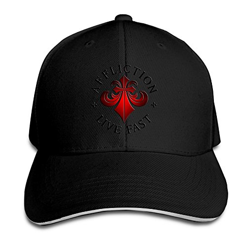YLSD Affliction-Logo Unisex Washed Twill Sandwich Bill Cap Adjustable Peaked Baseball Cap Fashion Golf Hat Cool Baseball Caps & Golf Capstrucker Hats Black (Affliction Life)