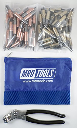 50 1/8 & 50 3/16 Heavy Duty Cleco Fasteners + Cleco Pliers w/ Mesh Bag (KHD4S100-1) by MRO Tools Cleco Fasteners
