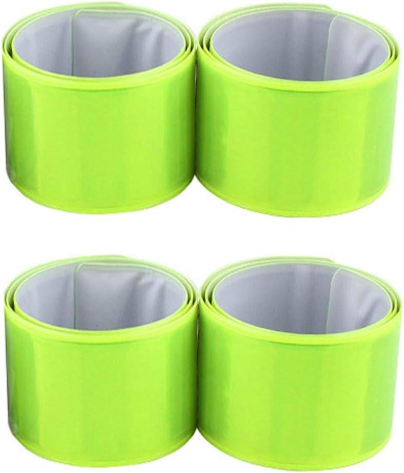 Verde OUTANG 4 Pacchi Riflessivo Slap Bands Fascia da Braccio Braccialetti Alta visibilit/à Sicurezza Luminoso Strisce per Gli Sport allAria Aperta e la Passeggiata per Cani