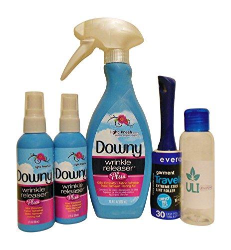 Downy Wrinkle Releaser Plus 16.9 oz Bottle (1) Travel Size 3.0 oz bottles (2) Travel Size Super Sticky (Travel Size Wrinkle Remover)