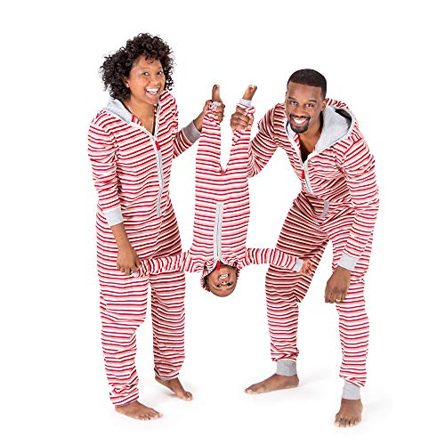 sex Adult Holiday Family Jumpbees, Peppermint Stripe Jumpsuit, One-Piece Romper, X-Small ()