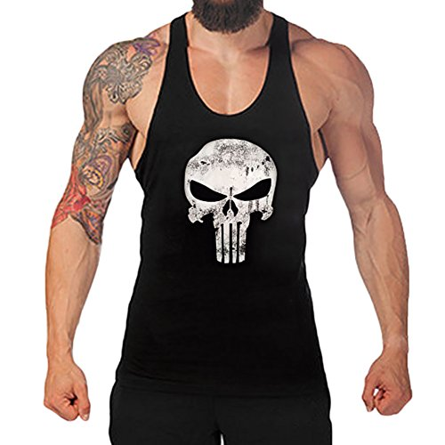 5f5bc5cb9a2 Chen Mens Skull Print Stringer Bodybuilding Gym Tank Tops Workout Fitness  Vest