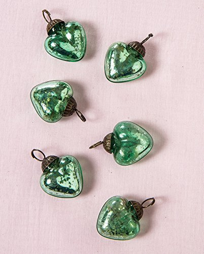 Luna Bazaar Mini Mercury Glass Ornaments (Cora Design, Heart Design, 1-Inch, Vintage Green, Set of 6) - Vintage-Style Decorations