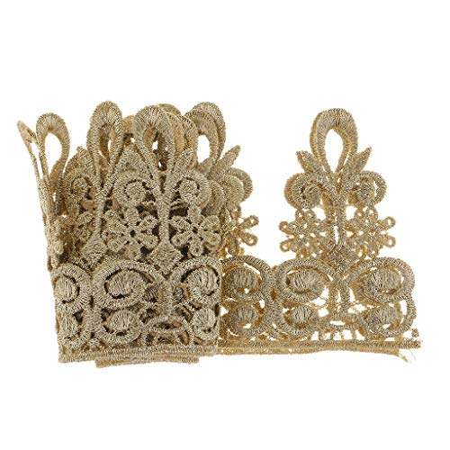 (MOPOLIS 1 Yard Embroidered Crown Metallic Lace Ribbon Trims Dress Costume Decoration | Color -)