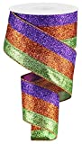 Glitter 3 in 1 Wired Edge Ribbon, 10 Yards (Lime, Orange, Fuchsia)