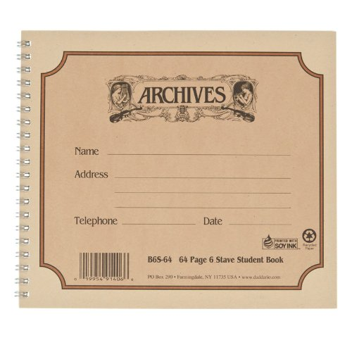 Archives Spiral Bound Manuscript Paper Book, 6 Stave, 64 Pages ()