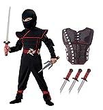 ninja armor costume - California Costumes Stealth Ninja Toddler Costume with Armor & Daggers Bundle Costume, Black/Red