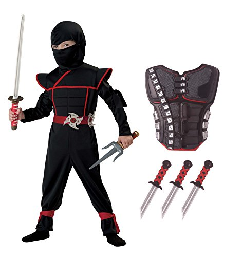 California Costumes Stealth Ninja Toddler Costume with Armor & Daggers Bundle Costume, Black/Red (Toddler Ninja Costume)