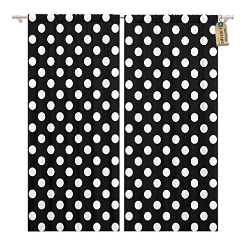 Golee Window Curtain Colorful Abstract Polka Dot Pattern in Black and White Home Decor Rod Pocket Drapes 2 Panels Curtain 104 x 63 inches - Dot Polka Rod