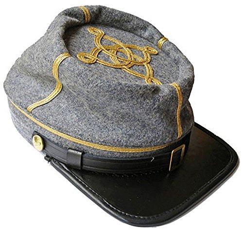 US Civil War Confederate Leather Peak Captain's Kepi Cap (L, Grey)