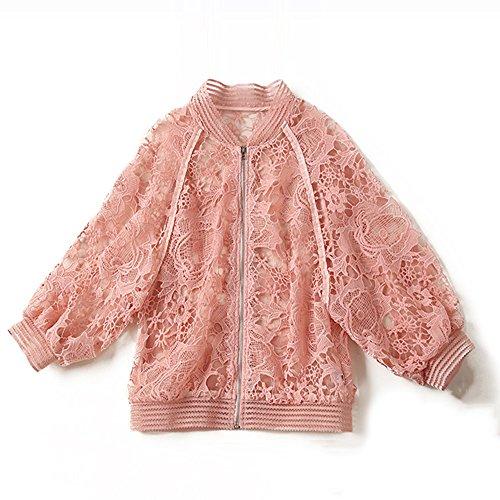 QFFL fangshaifu ピンクパースペクティブショート段落中空日保護服/レース刺繍メッシュカーディガン/ファッションショートジャケット/半袖エアーシャツ (サイズ さいず : M)