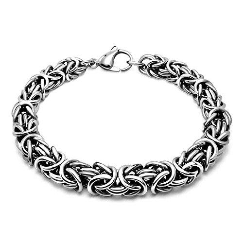 Emma Gioielli – Women Men Unisex Bracelet Chain Stainless Steel Round Byzantine - Gift Box ()