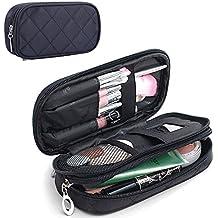MONSTINA Makeup Bag for Women With Mirror,Pencil Case,Pouch Bag,Makeup Brush Bags Travel Kit Organizer Cosmetic Bag (Black)