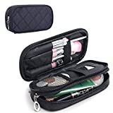 MONSTINA Makeup Bag for Women With Mirror,Pouch Bag,Makeup Brush Bags Travel Kit Organizer Cosmetic Bag (Black)