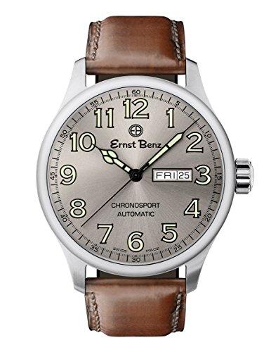 Ernst Benz Chronosport Swiss Automatic Grey Dial Green Numerals 44mm Men's Watch (Swiss Eta 2836 2 Automatic)