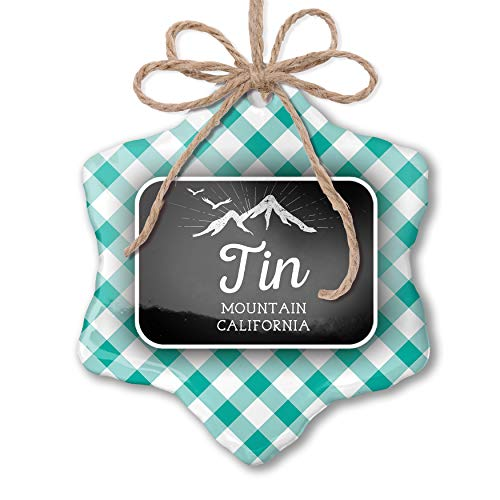 NEONBLOND Christmas Ornament Mountains Chalkboard Tin Mountain - California Pastel Mint Green Plaid