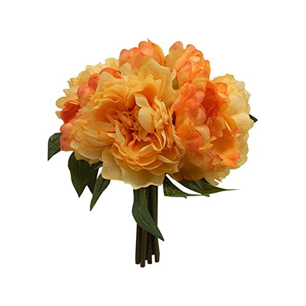 12″ Peony Bouquet Artificial Silk Wedding Bridal Flowers Home Party Decoration 10 Blooms(Salmon)