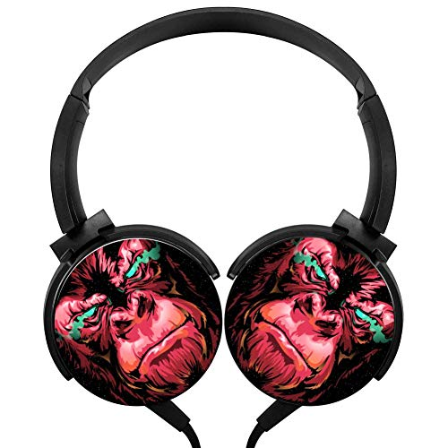Ferocious Red Gorilla Wired Headphones Headsets 3D Printing Foldable Over Ear for Kids or Adults Black