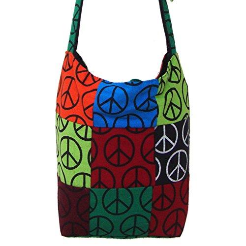 Multicolor Peace Sign Stampato Handloom Dhurrie in cotone Jhola Borsa per Lei
