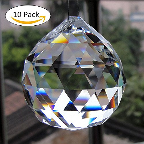 Fan Pendant Bead (10Pcs Crystal Glass Ball Chandelier Prisms Pendants Parts Beads (30mm, Clear))